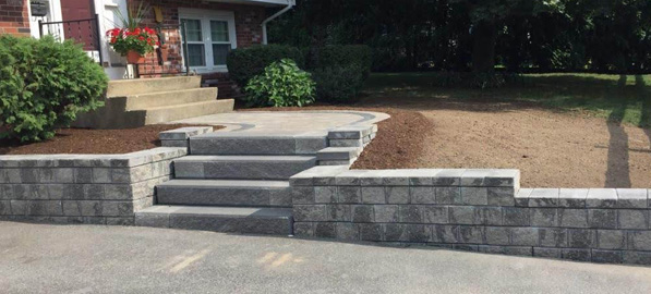 Front walkway and retaining wall construction